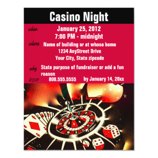 De Partij van de Nacht van de Pook van het casino 10,8x13,9 Uitnodiging Kaart