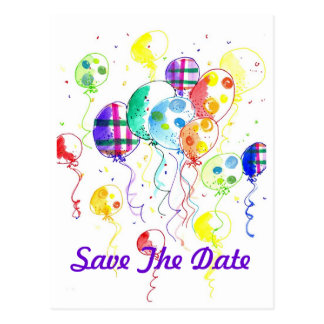 De Partij van de Regenboog van ballons viert Briefkaart