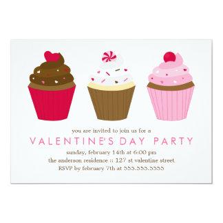 De Partij van de Valentijnsdag van Cupcakes 12,7x17,8 Uitnodiging Kaart
