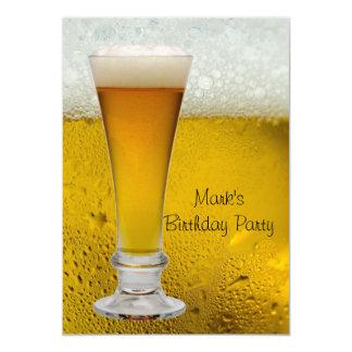 De Partij van de verjaardag bemant het Mannen Bier 12,7x17,8 Uitnodiging Kaart
