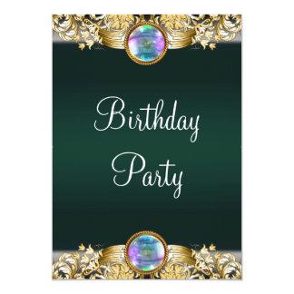 De Partij van de Verjaardag van de smaragdgroene 12,7x17,8 Uitnodiging Kaart