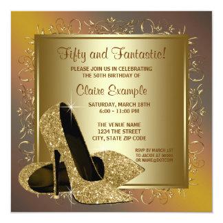 De Partij van de Verjaardag van de zuivere Gouden 13,3x13,3 Vierkante Uitnodiging Kaart