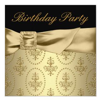 De Partij van de Verjaardag van de zwarte Gouden 13,3x13,3 Vierkante Uitnodiging Kaart