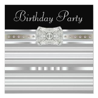 De Partij van de Verjaardag van de zwarte Zilveren 13,3x13,3 Vierkante Uitnodiging Kaart