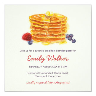 De Partij van de Verjaardag van het Ontbijt van de 13,3x13,3 Vierkante Uitnodiging Kaart