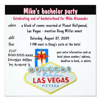 De Partij van de Vrijgezel van Las Vegas van de 13,3x13,3 Vierkante Uitnodiging Kaart