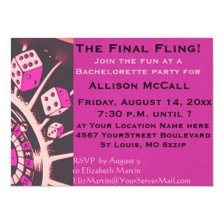De Partij van de Vrijgezellin van het Casino van 13,9x19,1 Uitnodiging Kaart