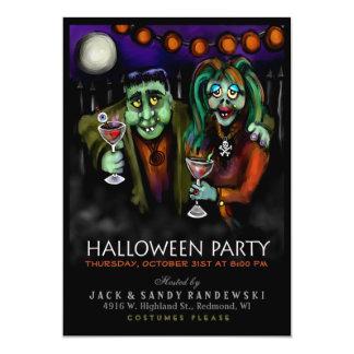 De Partij van Halloween van Frankenstein & van de 12,7x17,8 Uitnodiging Kaart