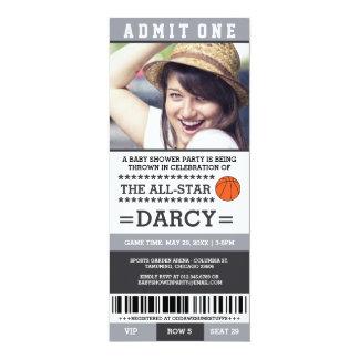 De Partij van het Baby shower van het basketbal 10,2x23,5 Uitnodiging Kaart