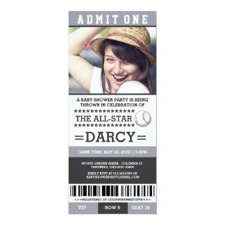 De Partij van het Baby shower van het honkbal 10,2x23,5 Uitnodiging Kaart