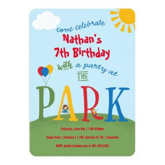 De Partij van het park - primaire kleuren 12,7x17,8 Uitnodiging Kaart
