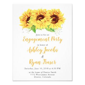 De Partij van het verloving nodigt Gele Zonnebloem Kaart