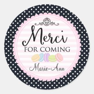 De partij van Macarons dankt u de cirkel van Merci Ronde Sticker