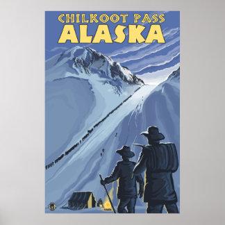 De Pas van Chilkoot, de Gouden Mijnwerkers van Ala Poster