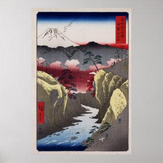 De Pas van Inume van Hiroshige in Provincie Kai Poster