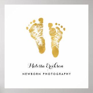 De pasgeboren Elegante Gouden Voetafdrukken Faux Poster
