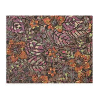 De pastelkleur kleurt bloemenpatroon romantisch houten canvas print