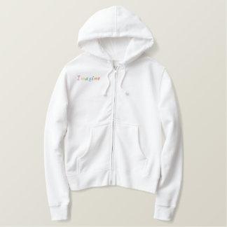De pastelkleur veronderstelt  geborduurde dames gevoerde hoodie