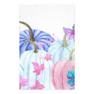 De pastelkleurpompoen van de waterverf en briefpapier