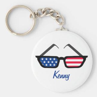 De patriottische Amerikaanse Retro Zonnebril van d Sleutelhanger
