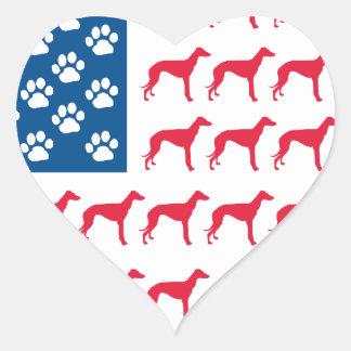 De patriottische Hond van de Windhond Hartvormige Sticker