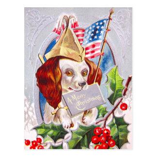De patriottische Hond van Kerstmis Briefkaart