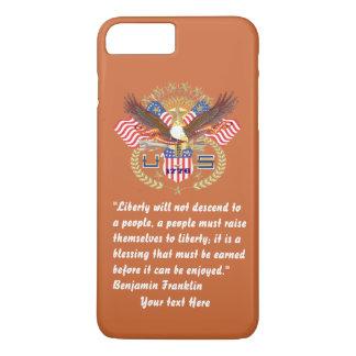De patriottische Roodbruine Vrede van de Vrijheid iPhone 8/7 Plus Hoesje