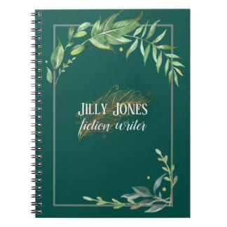 De Pen van de veer & BladLijst in Nette Groen Notitieboek