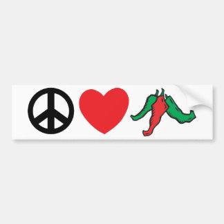 De Peper van Chili van de Liefde van de vrede Bumpersticker