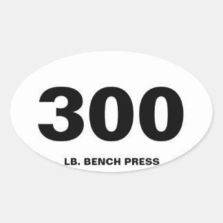 de pers van de 300 pondbank ovale sticker