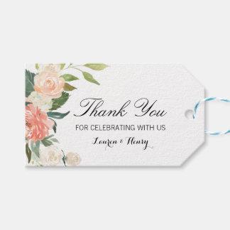 De perzik Bloemen dankt u etiketteert, goedkeurt Cadeaulabel