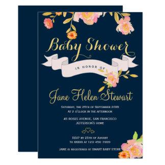 De perzik bloemen marineblauw baby shower van de kaart