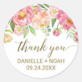 De perzik en de Roze Bloemen van de Pioen danken u Ronde Sticker