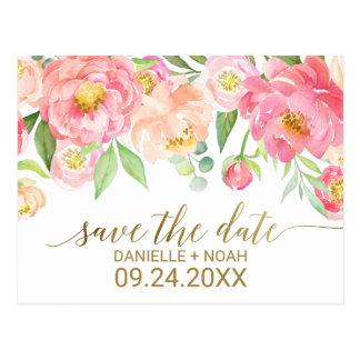 De perzik en het Roze Huwelijk van de Bloemen van Briefkaart