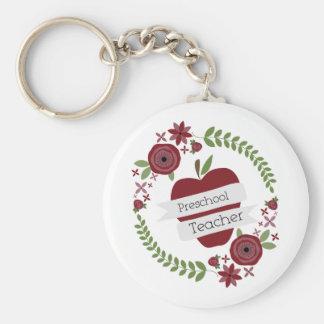 De peuter BloemenKroon Rood Apple van de Leraar Sleutelhanger