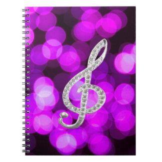 De Piano Gclef van de muziek Ringband Notitieboeken