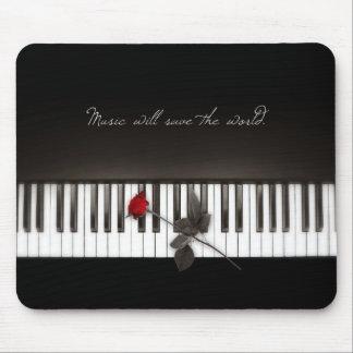 De piano sluit Rood toenam de Minnaar van de Muzie Muismat