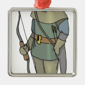 De Pijl van de Boog van het Man van de Schutter Zilverkleurig Vierkant Ornament