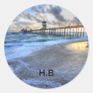 De Pijler van het Strand van Huntington Ronde Sticker