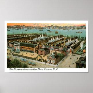 De Pijlers van de Lijn van Hamburg Amerika Poster