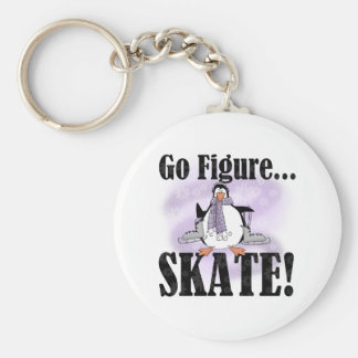 De pinguïn gaat Kunstschaats Basic Ronde Button Sleutelhanger