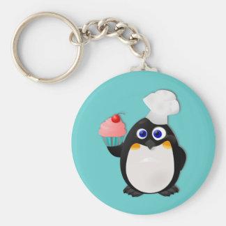 De Pinguïn van Baker met Cupcake II Basic Ronde Button Sleutelhanger