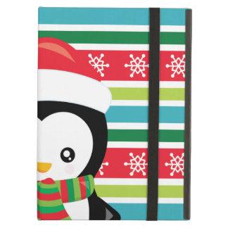 De Pinguïn van de gift op gestreepte iPad Air Hoesje