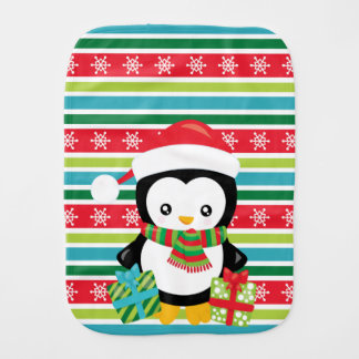 De Pinguïn van de gift op gestreepte Spuugdoekje