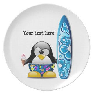 De Pinguïn van Surfer met Roomijs Borden