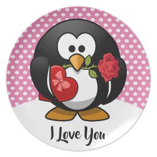 De Pinguïn van Valentijn met Chocolade en de Gift Melamine+bord