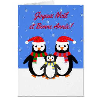De pinguïnen Franse taal van Noël Bonne Année van Wenskaart