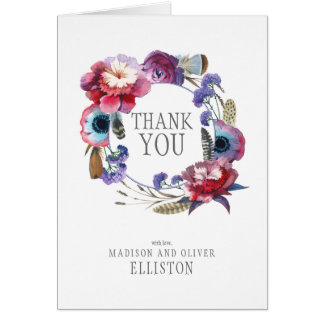 De Pioen van Wildflower Bloemen met Veren | dankt Kaart