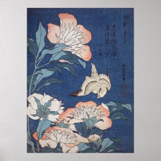 De Pioenen en de Kanarie van Hokusai van Poster