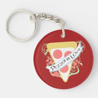 De pizza is Liefde 2-Zijden Ronde Acryl Sleutelhanger